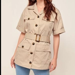 Notched Collar Flap Pocket Belted Cuffed Coat